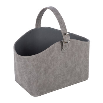 Faux Leather Storage Basket With Handle - Grey Croc
