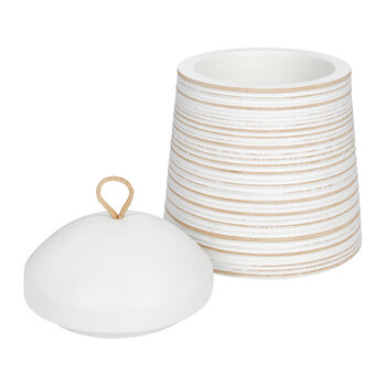 Striped Wooden Pot with Lid