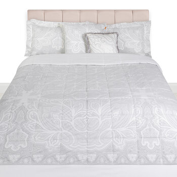 Avignone Gatsby Panel Quilted Bedcover - 270x270cm - Grey