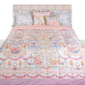 Pertuis Mirabeau Quilted Bedcover with Double Edge - 270x270cm - Pink