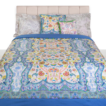 Salamanca Leon Panel Quilted Bedcover - 270x270cm - Blue