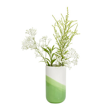 Herringbone Ribbed Vase - Green