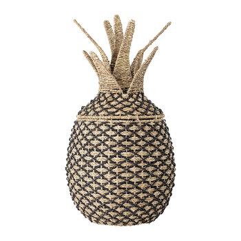 Pineapple Basket with Lid - Black/Natural