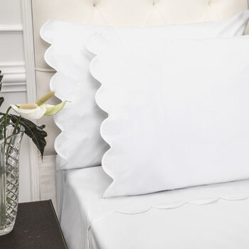 Scallop Pillowcase - Set of 2 - White