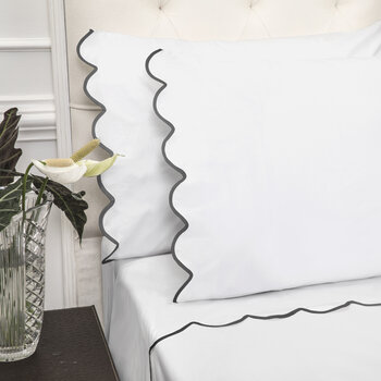 Scallop Pillowcase - Set of 2 - White/Charcoal