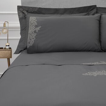 Wallis Bed Set - Charcoal/Silver