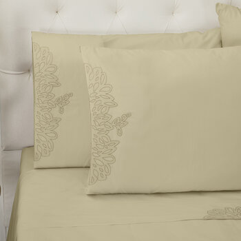 Wallis Pillowcase - Set of 2 - Taupe/Silver