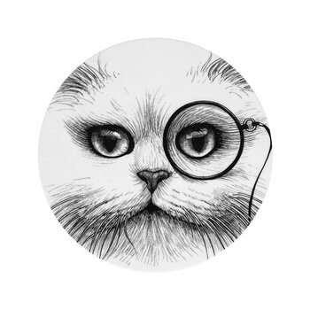 Cat Monocle Coaster - Set of 4