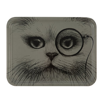 Large Rectangular Tray - Gray Cat with Monocle