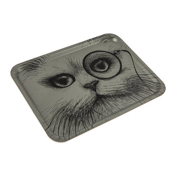 Large Rectangular Tray - Grey Cat with Monocle