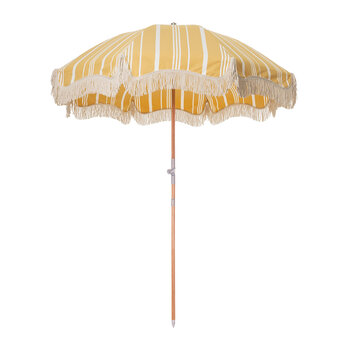 Premium Beach Umbrella - Vintage Yellow Stripe