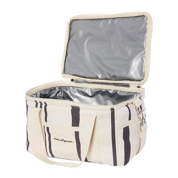 Premium Cooler Bag - Vintage White/Black Stripe