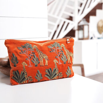 Pochette de Voyage en Velours Girafe - Orange