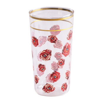 Gold Rim Glass - Roses