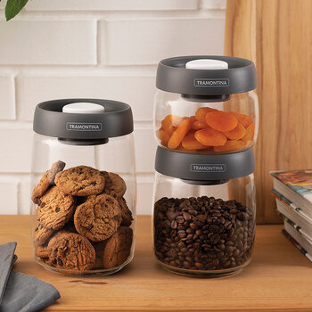Glass Container with Vacuum Lid - Set of 3