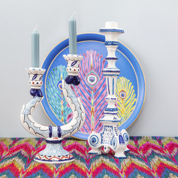 Turquerie Ceramic Candlestick Holder - Blue