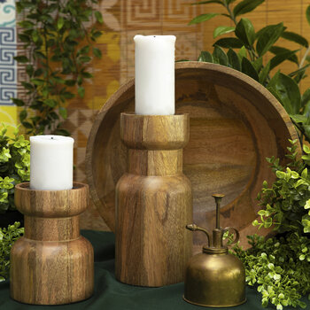 Wooden Pillar Candle Holder - Small
