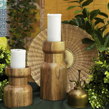 Wooden Pillar Candle Holder - Large