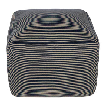 Cube Pouf - Blue Stripe