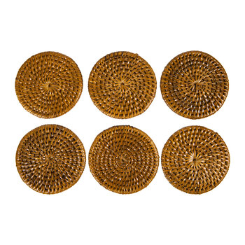 Rattan Coaster - Set of 6 - Dark