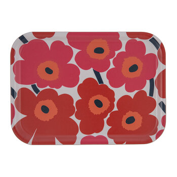 Mini Unikko Rectangle Tray - White/Red - 27x20cm