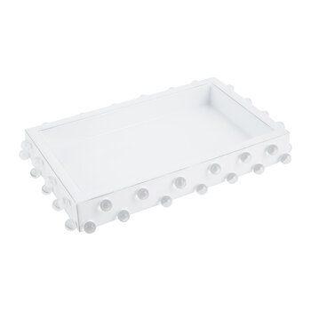 Roxy Rectangular Tray - White/Silver