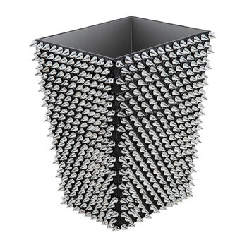 Spikes Waste Bin - Silver/Black