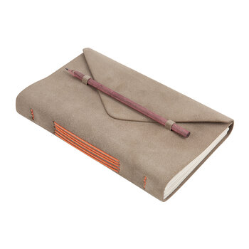 Suede Flap Journal - Tan