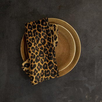 Leopard Sateen Napkins - Set of 4 - Natural