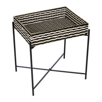 Black & White Woven Side Table