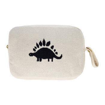Kids Knitted Travel Pouch With Blanket - Dinosaur