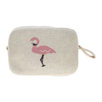 Animal Knitted Travel Pouch With Blanket - Flamingo