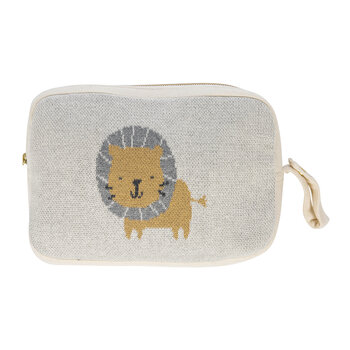 Animal Knitted Travel Pouch With Blanket - Lion