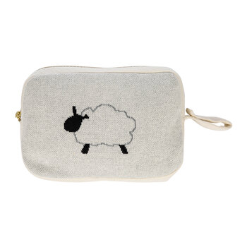 Animal Knitted Travel Pouch With Blanket - Sheep