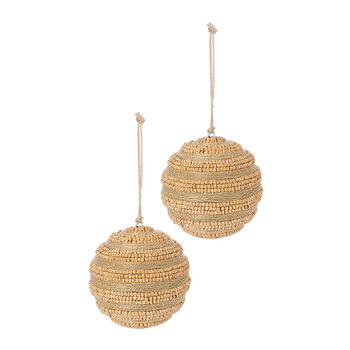 Wooden Bead Wrapped Bauble - Set of 2