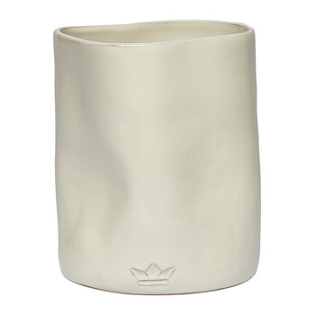 Ceramic Dented Utensil Holder - White
