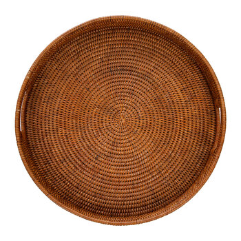 Round Rattan Tray With Handle - Dark