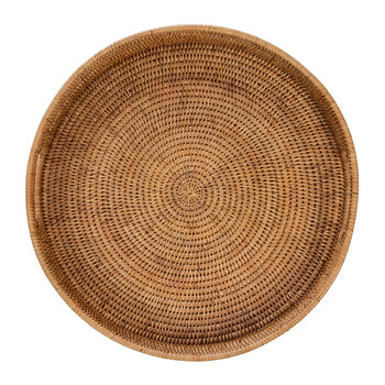 Round Rattan Tray With Handle - Natural