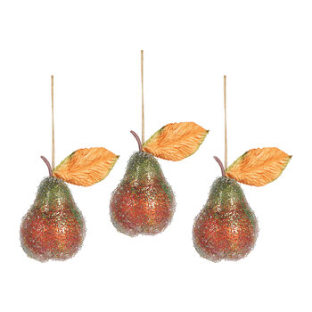Beaded Pear Tree Decoration - Set of 3