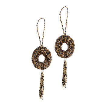Beaded Wreath With Tassel Tree Decoration - Set of 2 - Black/Gold