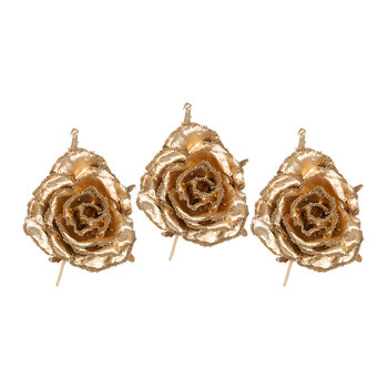 Metallic Artificial Rose Clip On Decoration - Set of 3 - Gold