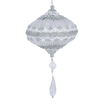 Pleated Bauble with Tassel - Set of 3 - White