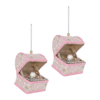 Treasure Chest Tree Decoration - Set of 2 - Pink