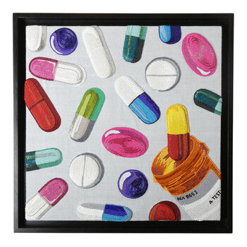 Happy Pills Beaded Wall Art