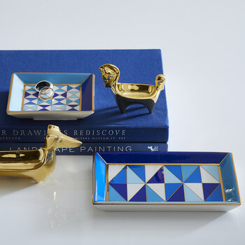 Sorrento Rectangle Tray - Blue/White