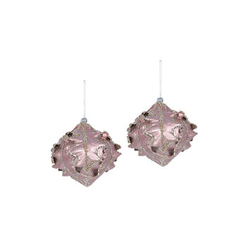 Metallic Ornate Bauble - Set of 2 - Pink