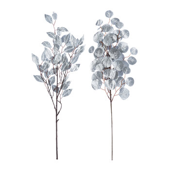 Glitter Leaf Spray - Set of  2 - Silver