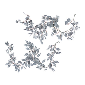 Glitter Leaf Garland - Set of 2 - Silver