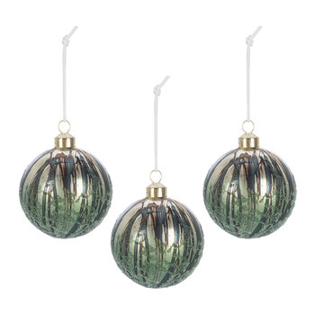 Antique Finish Bauble - Set of 3 - Green
