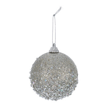 Bead Encrusted Bauble - Set of 12 - Misty Grey